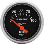 "Parts -  Instrument Gauges - Auto Meter Sport Comp Series 2-1/16"" Oil Pressure Gauge. Electric 0-100 Psi., Short Sweep"