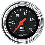 "Parts -  Instrument Gauges - Auto Meter Traditional Chrome Series 2-1/16"" Oil Pressure Gauge. Mechanical 0-100 Psi., Full Sweep"