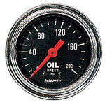 "Parts -  Instrument Gauges - Auto Meter Traditional Chrome Series 2-1/16"" Oil Pressure Gauge. Mechanical 0-200 Psi., Full Sweep"