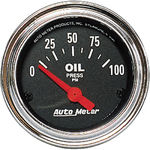 "Parts -  Instrument Gauges - Auto Meter Traditional Chrome Series 2-1/16"" Oil Pressure Gauge. Electric 0-100 Psi., Short Sweep"