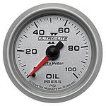 "Parts -  Instrument Gauges - Auto Meter Ultra Lite Ii 2-1/16"" Oil Pressure Gauge. Mechanical 0-100 Psi, Full Sweep"