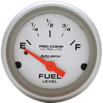 "Parts -  Instrument Gauges - Auto Meter Ultra Lite Series 2-1/16"" Fuel Level Gauge. Electric Gm 0-30 Ohm., Short Sweep"