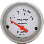 "Parts -  Instrument Gauges - Auto Meter Ultra Lite Series 2-1/16"" Fuel Level Gauge. Electric 16-158 Ohm., Short Sweep"