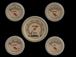 Parts -  Instrument Gauges - (5 Gauge Set) - Vintage Series With Curved Lens 12v