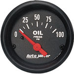 "Parts -  Instrument Gauges - Auto Meter Z Series 2-1/16"" Oil Pressure Gauge. Electric 0-100 Ohm, Short Sweep"